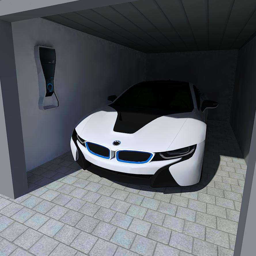 Garage mit Wallbox zum Laden